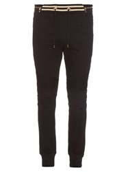 Balmain Biker Cotton Jersey Track Pants Black