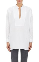 Tomorrowland Women's Poplin Oversized Split Neck Blouse White