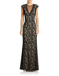 Betsy And Adam Illusion V Neck Lace Gown Black Nude
