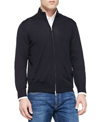 Brunello Cucinelli Fine Gauge Full Zip Sweater Navy
