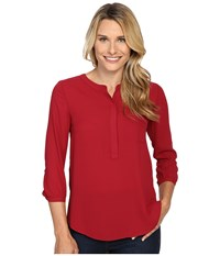 Nydj 3 4 Sleeve Pleat Back Carmine Women's Blouse Red
