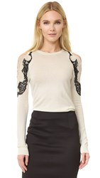 Yigal Azrouel Cold Shoulder Lace Trim Sweater Ivory