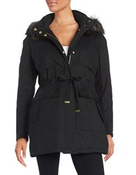 French Connection Faux Fur Trimmed Parka Black