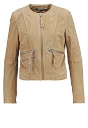 Marc O'polo Leather Jacket Dark Teak Oliv