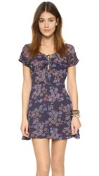 Free People Yours Truly Printed Mini Dress Dark Blue