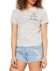 Miss Selfridge Embroidered Text Tee Cream