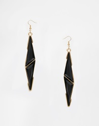 Paper Dolls Paperdolls Enamel Triangle Drop Earrings Black