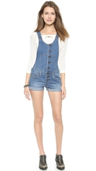 Free People Century Button Front Shortalls Willow