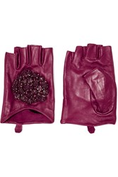 Karl Lagerfeld Embellished Leather Fingerless Gloves Purple