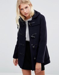 Gloverall Mid Slim Duffle Coat In Navy Navy Bw