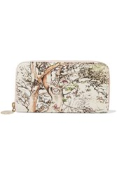 Red Valentino Redvalentino Printed Canvas Continental Wallet Off White