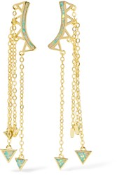 Noir Gold Tone Opal Earrings Metallic