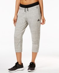 Adidas Fleece Cropped Sweatpants Sand Medium Grey Heather
