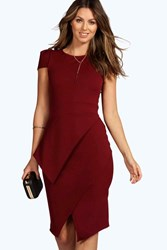 Boohoo Wrap Skirt Bodycon Dress Berry