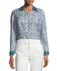 Carolina Herrera Long Sleeve Cropped Jacket Ivory Black Slate