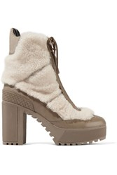 Atelje 71 Asta Shearling And Leather Ankle Boots Mushroom