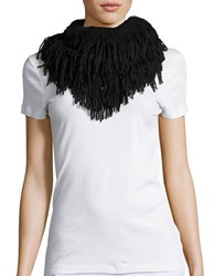 Joolay Fringe Trimmed Infinity Loop Scarf Black