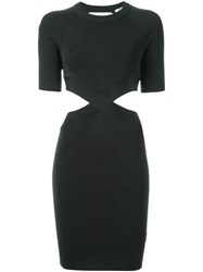 T By Alexander Wang Ribbed Cut Out Dress Green