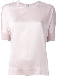 P.A.R.O.S.H. Crew Neck Short Sleeve Blouse Pink And Purple