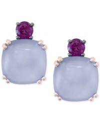 Effy Collection Effy Chalcedony 4 1 3 Ct. T.W. And Rhodolite 1 4 Ct. T.W. Stud Earrings In 14K Rose Gold Yellow Gold