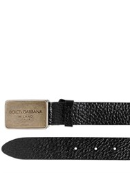 Dolce And Gabbana 30Mm Textured Leather Belt With Logo