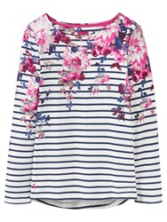 Joules Harbour Print Jersey Top Cream Floral Stripe