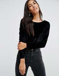 Brave Soul Velvet Crop Top Black