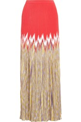 Missoni Pleated Crepe And Crochet Knit Maxi Skirt Multi