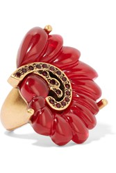Oscar De La Renta Gold Plated Resin And Stone Ring Red