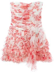 Faith Connexion Ruffled Strapless Dress Pink And Purple