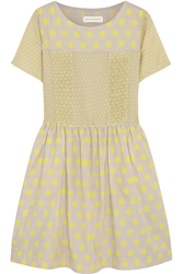 Chinti And Parker Printed Cotton Mini Dress Taupe