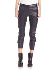 Brunello Cucinelli Stretch Leather Ankle Zip Pants Navy