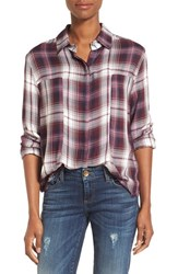 Signorelli Women's Plaid Frayed Hem Shirt Wine Black