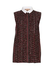 N 21 Contrast Collar Striped Sleeveless Shirt Burgundy