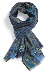 Etro Paisley Wool And Silk Scarf Navy