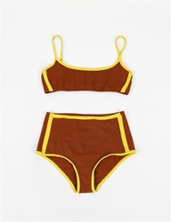 Laura Urbinati Color Block Two Piece Cognac Yellow