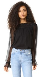 Haute Hippie Christina Ruffle Blouse Black