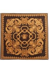 Versace Printed Silk Satin Scarf Gold