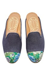 Stubbs And Wootton M'o Exclusive Chester Denim Mule Navy