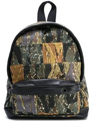 Palm Angels Patch Camouflage Backpack Green