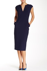 Single Dress Cap Sleeve Fitted Dress Blue