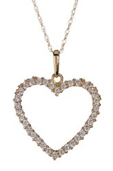 Candela 10K Yellow Gold Cz Open Heart Necklace Gray