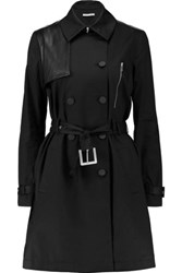 Rebecca Minkoff Strut Leather Trimmed Stretch Cotton Poplin Trench Coat Black