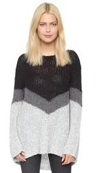 Pam And Gela Slouchy Chevron Sweater Grey Black