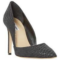 Dune Alia High Stiletto Heel Court Shoes Black Leather Reptile
