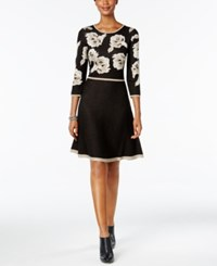 Jessica Howard Petite Floral Print Fit And Flare Sweater Dress Black Tan