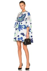 Victoria Victoria Beckham Printed Oversized Dress In White Blue Floral