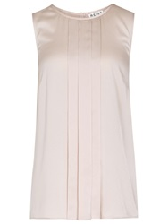 Reiss Pleated Tank Top Blouse Soft Blush