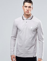 Pretty Green Polo Shirt With Long Sleeves Twin Tipped In Grey Ltgrey