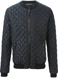 Dolce And Gabbana Animal Print Bomber Jacket Black